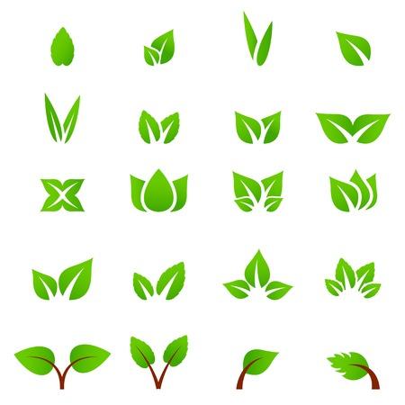 Eco icona verde foglia illustrazione vettoriale isolato Archivio Fotografico - 30673411
