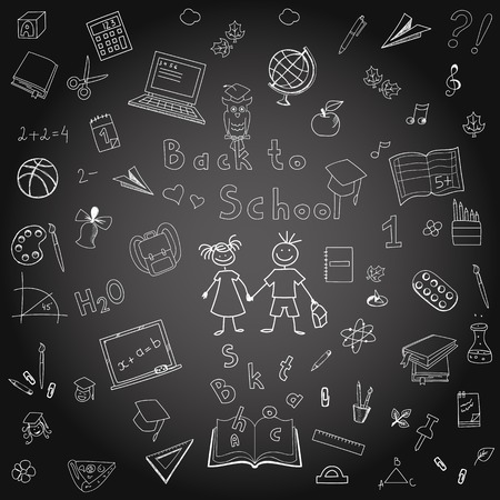 Freehand drawing school items on the board  Back to School  Vector illustration  Set Vector