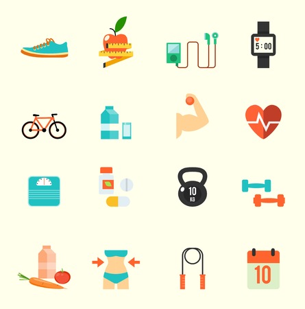 healthy woman: Fitness and health icons with white background , eps10 vector format