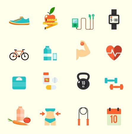 icone sanit�: Fitness e salute icone con sfondo bianco, formato vettoriale eps10 Vettoriali