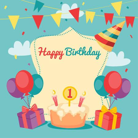 Happy Birthday vector card. beautiful vector illustration. Vector