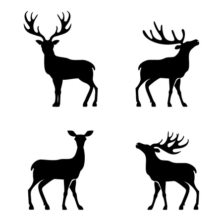 hunting season: Vector illustration of collection of deers silhouette