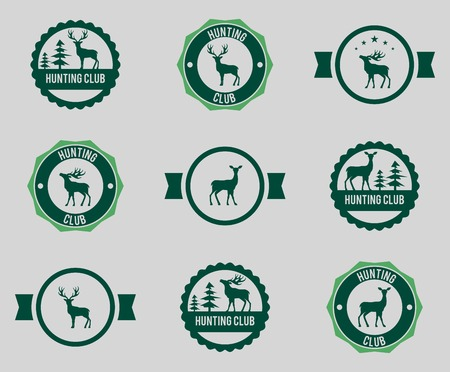 Collection of Vintage Retro Hunting Badges and Labels Vector