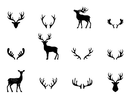 stag horn: Black silhouettes of different deer horns
