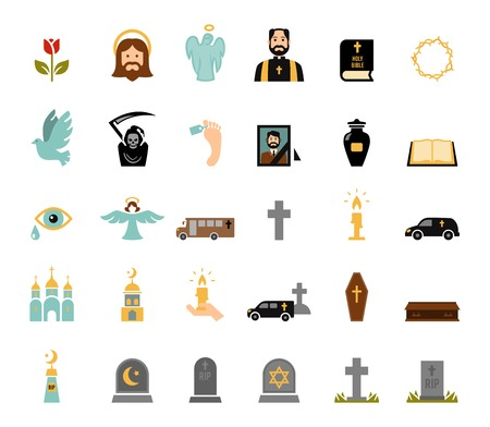 Death and mourning for deceased ritual church funeral ceremony tombstone candles flat icons set vector isolated illustration Vector