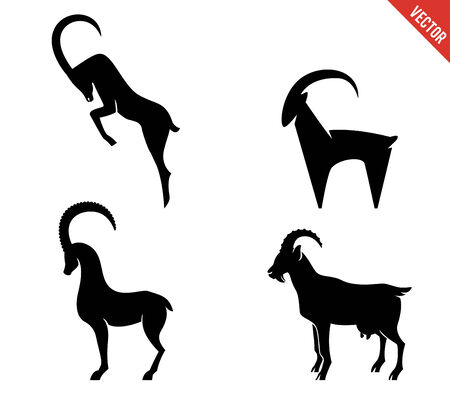 goat horns: Set of black silhouette Goats icon isolated on white background. Vector illustration. New 2015