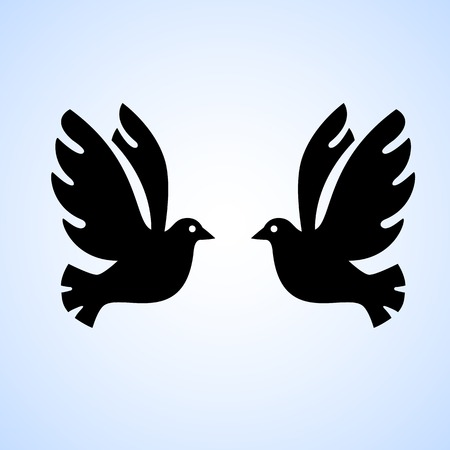 bird logo: Black bird isolated with outstretched wings, logo