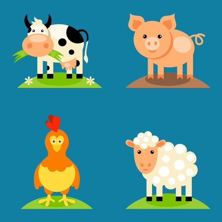 cow vector: Farm animals set in flat vector style with a chicken, pig, sheep, dairy cow. Illustration