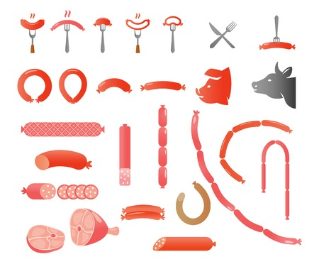 pork rib: illustration set of different varieties of sausage on a white background