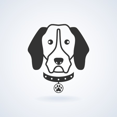 cur: Dog head with leash icon vector illustration