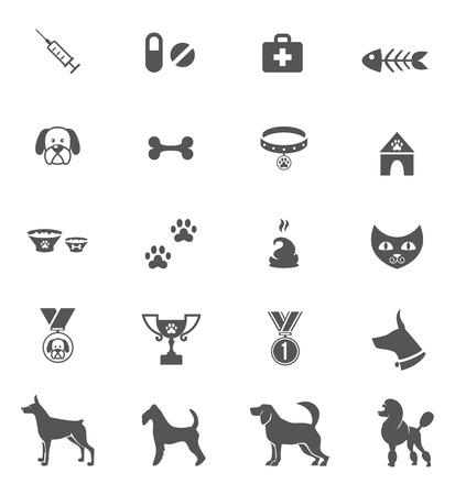 dog tag: Cute dog icons set isolated on white. Vector element