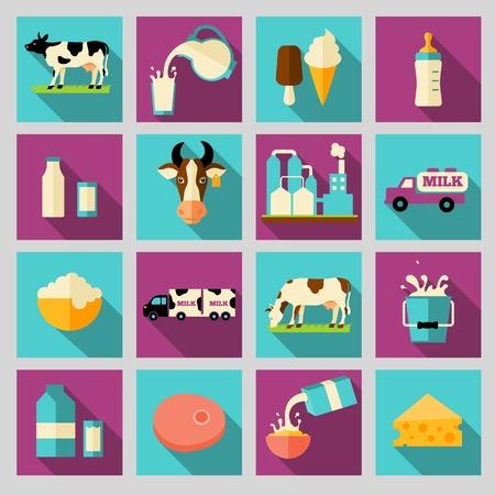 agrio: Planos sombra iconos largas de productos l�cteos Leche establecen con el procesamiento de chapoteo crema agria ilustraci�n vectorial Vectores