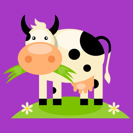 moo: Black and white cow with bell, side view, isolated Illustration