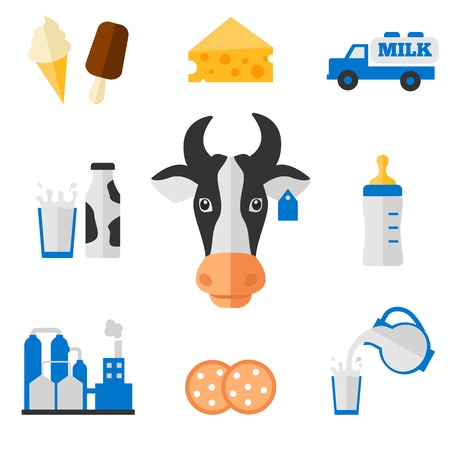 dairy products: Dairy products - milk, cheese vector icons set
