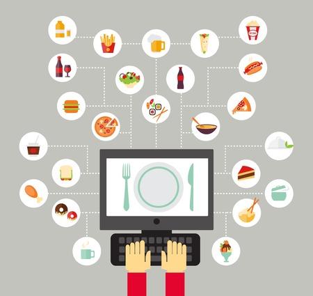 Fondo de alimentos: bloguear sobre alimentos, leer sobre alimentos, buscar recetas o pedir comida en línea. Estilo de diseño plano.