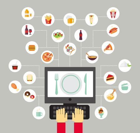 restaurants: Food background - food blogging, reading about food, searching for recipes or ordering food online. Flat design style. Illustration
