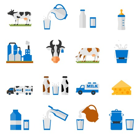 pitcher: Dairy products - milk, cheese vector icons set