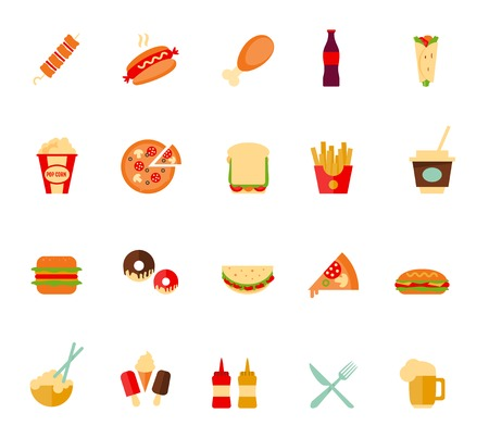 food and beverages: Set of colorful cartoon fast food icons. Isolated vector.