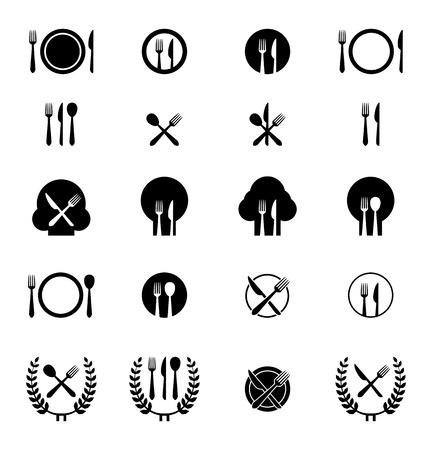 Ilustraciones del vector del icono de tenedor, cuchillo y cuchara dispuestos en diferentes formas