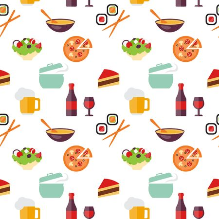 Seamless food pattern restaurant, sushi and fast food themes. Flat design vector for restaurant, menu, cafe, culinary blogs and sites.