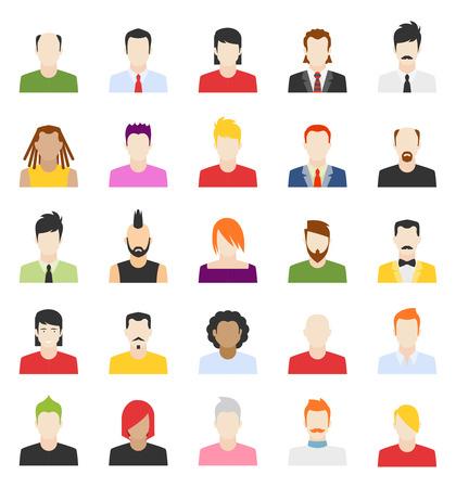 사람들이 아바타의 벡터 디자인, 평면 사용자 얼굴 아이콘 일러스트
