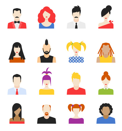 human hair: Big set of avatars profile pictures flat icons