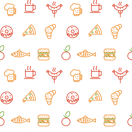 Seamless pattern with food elements. Foodstuff pattern Vector