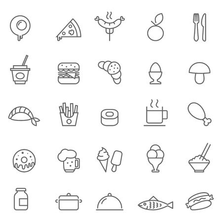 Set of Outline stroke Food icon Vector illustration Фото со стока - 38964761