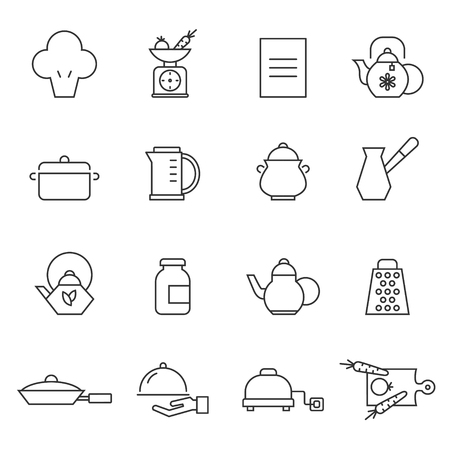 measuring spoons: Set of outlined cooking icons Illustration