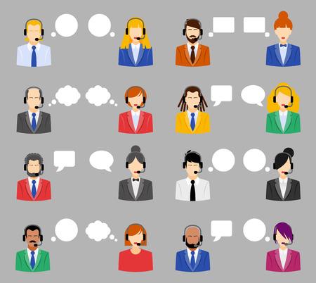 남자와 여자의 콜 센터 아바타 아이콘이 얼굴없는 남자와 여자의 다채로운 연설 거품 헤드셋을 입고 클라이언트 서비스 및 통신의 개념