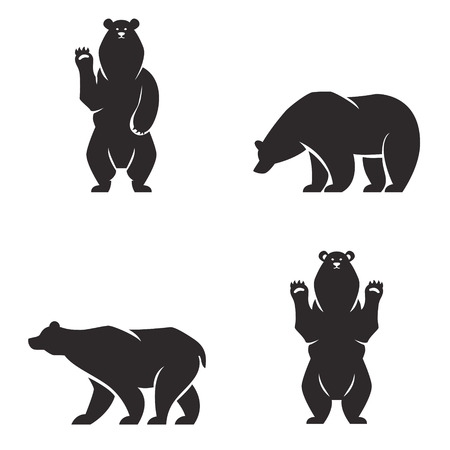 Vintage bear mascot, emblems, symbols, icons set. Can be used for T-shirts print, labels, badges, stickers, icon vector illustration.