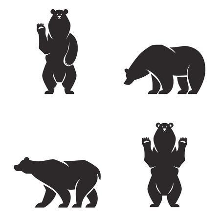 grizzly: Vintage ours mascotte, emblèmes, symboles, icônes réglé. Peut être utilisé pour des T-shirts imprimés, étiquettes, badges, autocollants, icône illustration vectorielle.