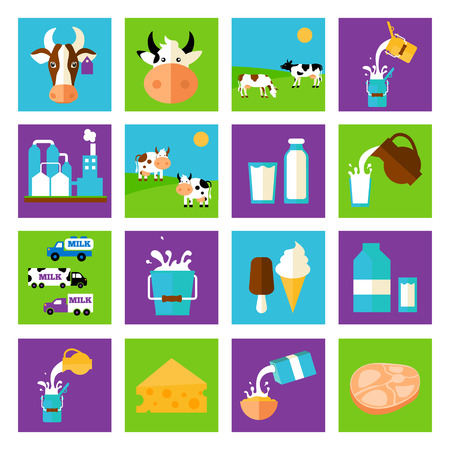 Milk dairy product flat long shadow icons set with processing splash sour cream isolated vector illustration Illustration