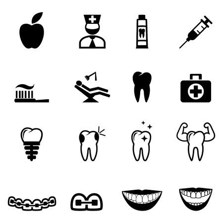 dental chair: Dental icons. Dental care icons - Illustration Set