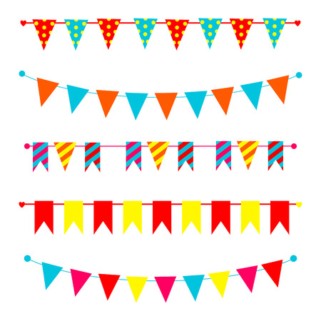 pennants: olorful bunting and garland set isolated on white Illustration