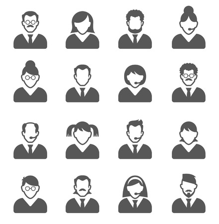 User Icons and People Icons with White Background Ilustração