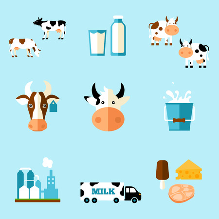 iconography: cute cartoon illustration of a cow and products we gain from her