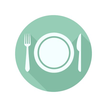 dinner plate: Flat Dinner Plate with Knife and Fork