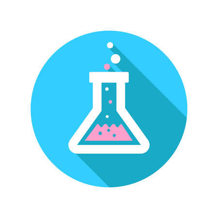 erlenmeyer: Vector chemistry icon with laboratory glassware filled with bubbling chemical solutions undergoing a reaction conceptual of scientific medical and industrial research quality control or diagnosis