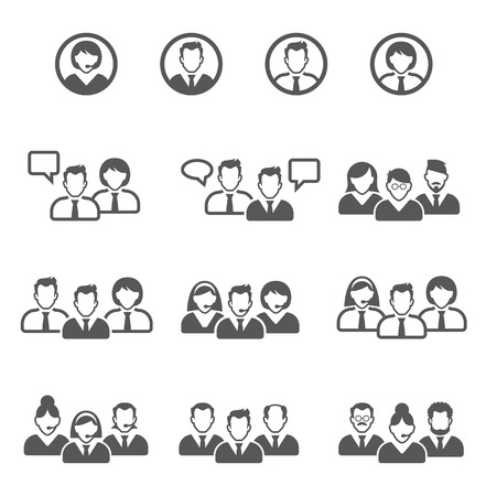 Vector black people icons set. user icons