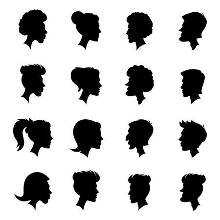 visage femme profil: Vector Set de Femme et Homme Adulte et enfant Cameo Silhouettes