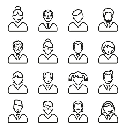 Line people icon. People outline vector set. Linear business people. Vector