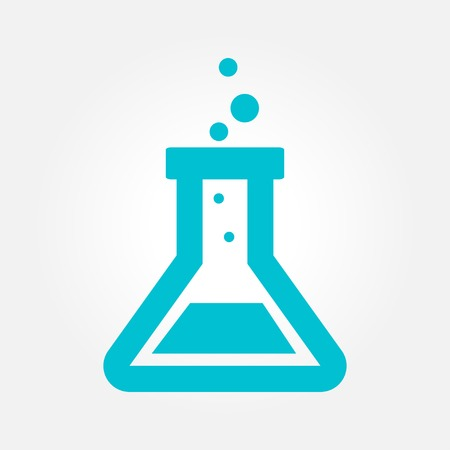 testtube: laboratory glass. Chemical flask simplistic vector icon.