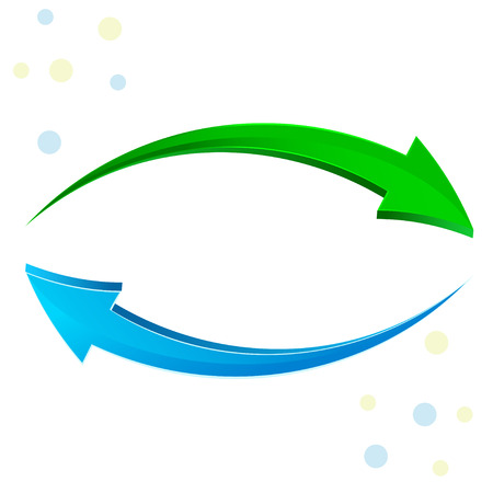 flecha: flechas de icono, el verde y el azul brillante de actualizaci�n 3D aisladas en blanco