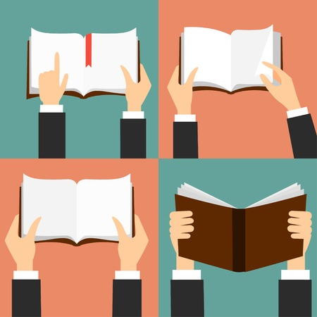 business book: Vector set of hand holding books - icons in flat retro style Illustration
