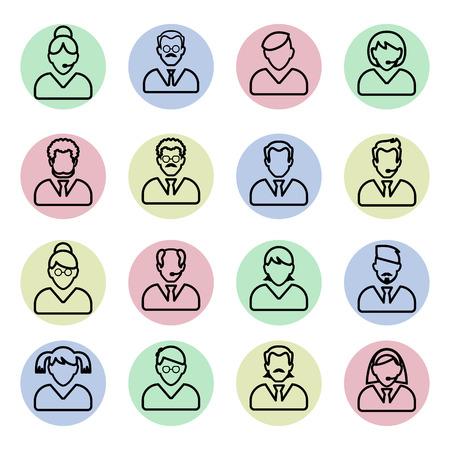 fila di persone: Persone icona linea. Persone delineano insieme vettoriale. Uomini d'affari lineari.