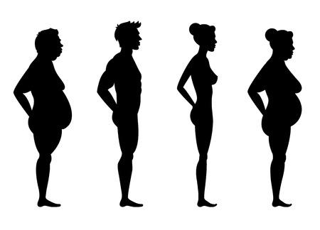 Raccolta di sagome di uomo e donna in vista laterale. Illustrazione vettoriale, isolato su sfondo bianco