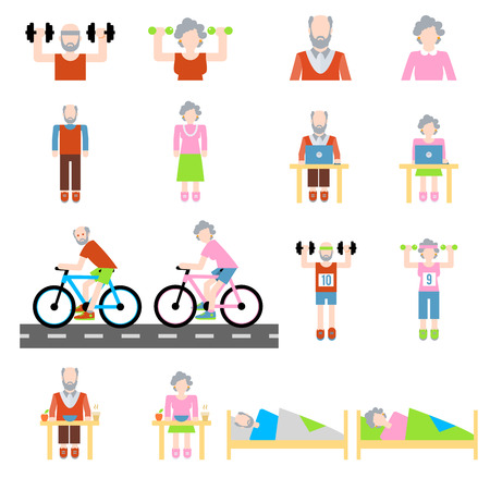 senior exercise: Senior lifestyle flat icons set with elderly family couple isolated vector illustration Illustration