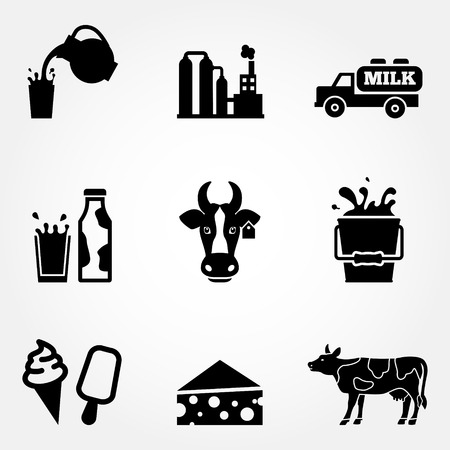 Dairy products - milk, cheese vector icons set