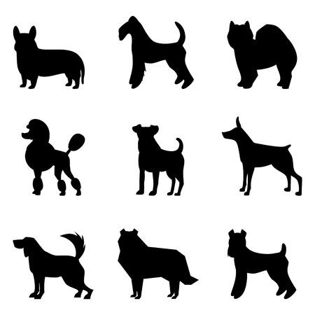 犬シルエット、犬のシルエットのベクター セット